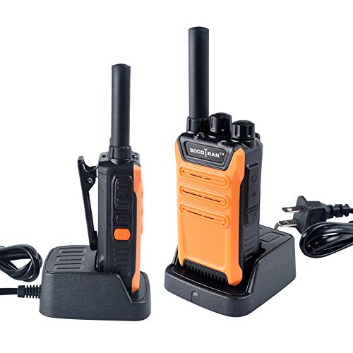 SOCOTRAN Two Way Radios Mini Walkie Talkies for Adults UHF400-470MHZ 3 Miles Long Range 2 Way Radios Rechargeable Walkie Talkies with 2W 16CH Perfect for Hunting Camping Cruise Orange 2 Pack