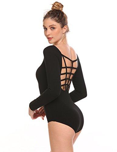 Arshiner Womens Basic Long Sleeve Dance Leotard Black M