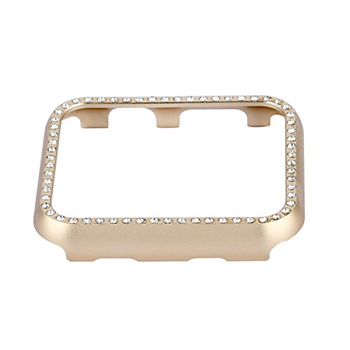 Clatune Bling Crystal Aluminum Alloy Bumper Case Shiny Rhinestone Diamond Protective Metal Frame Cover Compatible with 38mm Apple Watch Series 3/2/1 - Gold