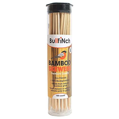 100-Count Bamboo Skewers 6 inch - Ecofriendly Wooden Sticks — Biodegradable Marshmallow Grill Sticks — Vegetable Kabobs - Camping - (6