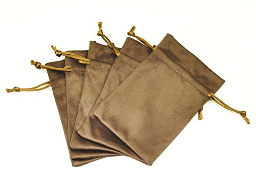 FantasyLife Suede Fabric Drawstring Bag Jewelry Bag Gift Bag Small Mini Carrying Storage Pouch Wrap -5pcs