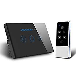 US AU Type 433 MHZ Remote Control Touch Dimmer Light Wall Switch with Blue LED Backlight Switches Compatible with Broadlink RM Pro with Remote White (Black)