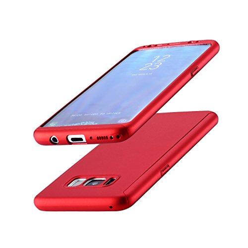 IMOO Funda de móvil Samsung Galaxy S8 360 grados paquete sólido con un agujero Para Samsung Galaxy S8(Oro rosa) Rojo