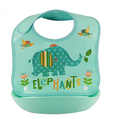 Argonv Baby Bibs Waterproof Silicone Cute,Plastic Feeding Bibs for Babies and Toddlers,Comfortable Soft Adjustable Cleaning Feeding Apron, for Gils and Boys (Blue Elephant)