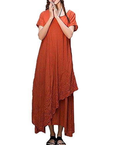 ZANZEA Womens Vintage Round Neck Two-layer Short Sleeve Cotton Linen Maxi Dress Rust red L