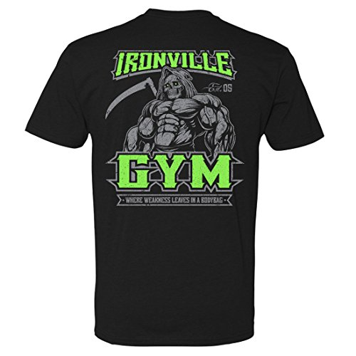 Ironville Gym Reaper Weightlifting Soft Blend Fitted T-Shirt (Art ON Back - Black w Green, Large) -