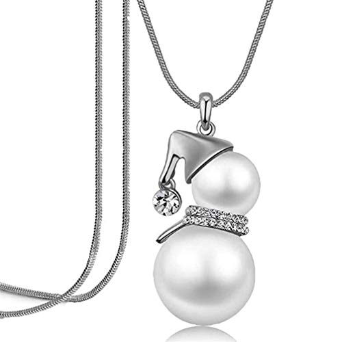 Myhouse Faux Pearl Snowman Pendant Rhinestone Long Sweater Chain Necklace Charm Gift,Silver Color