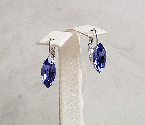 (Blue Purple Marquise Crystal Drop Leverback Earrings Simulated Tanzanite December Birthstone Gift Idea)
