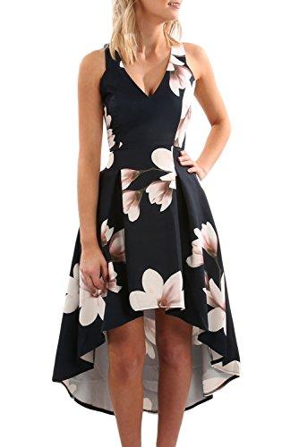 Sidefeel Women Sleeveless High Low Hem White Flower Print Midi Swing Dress Meidum Black