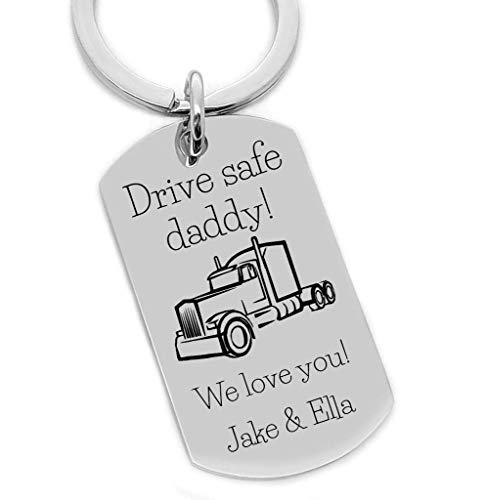 Gift For Semi Truck Driver Dad, Drive Safe Daddy, Trucker Key Chain, Gift For Dad