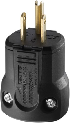 (Eaton AH5965BK QuickGrip Industrial Grade Straight Blade Plug, Black Finish)