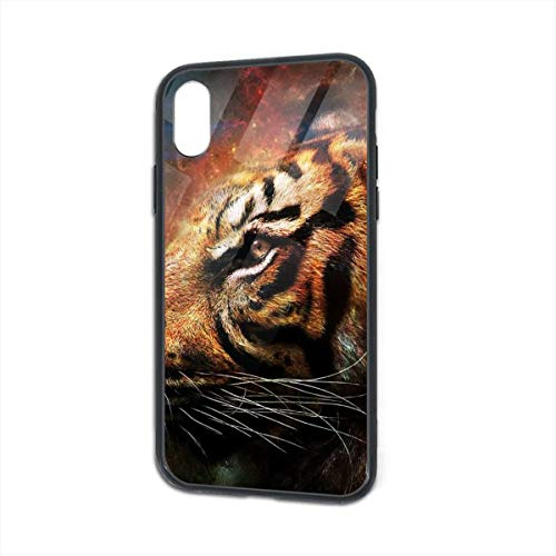 HengZhe iPhone Xs/X Case Tiger Galaxy Drawn TPU Ultra-Thin Slim Soft Silicone Cover Tempered Glass Back Cover Anti-Fall Protection 5.8 Inch -
