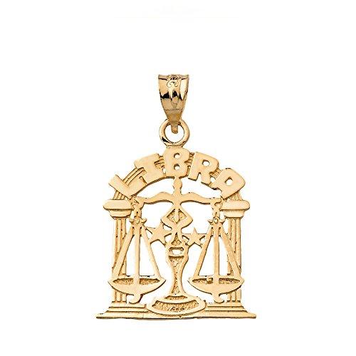 Fine 14k Yellow Gold Libra Zodiac Sign Personalized Charm Pendant ()