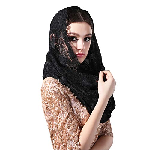 Infinity Scarf Mantilla Catholic Church Veil Head Covering Latin Mass (Black) ()