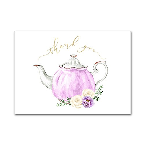 Set of 12 Thank You Notes and Envelopes Bridal Shower Wedding Watercolor Teapot Tea Party High Tea in Purple TYB8024