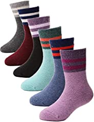 Kids Wool Socks 6 Pairs Toddlers Boys Girls Thick Cabin Winter Boot Snow Thermal Warm Cute Socks for Child