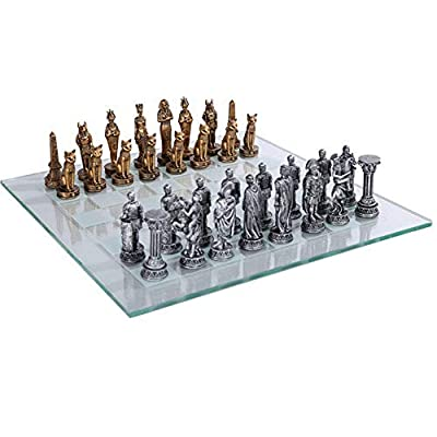 Romans Vs Egyptians Chess Set With Glass Board Set: Home & Kitchen