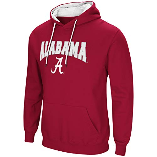 Crimson Pullover Hoody - Colosseum NCAA Men's-Cold Streak-Hoody Pullover Sweatshirt with Tackle Twill -Alabama Crimson Tide-Crimson-Large