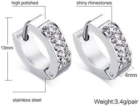 Eleganti orecchini a cerchio, fatti a mano con strass, da donna o uomo, in stile punk rock, in argento d'oro argento nero