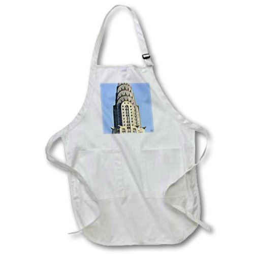 3dRose apr_10266_2 The Chrysler Building is an Art Deco Skyscraper in New York City-Medium Length Apron with Pouch Pockets, 22 by 24-Inch -