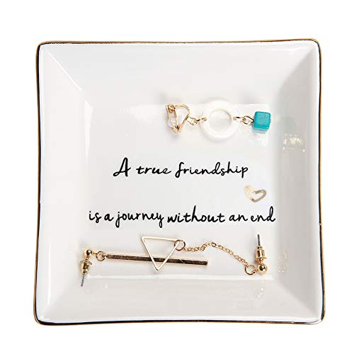 HOME SMILE Friends Gifts Ring Trinket Dish-A True Friendship is a Journey Without an end (Christmas Gifts For The Best Friend)