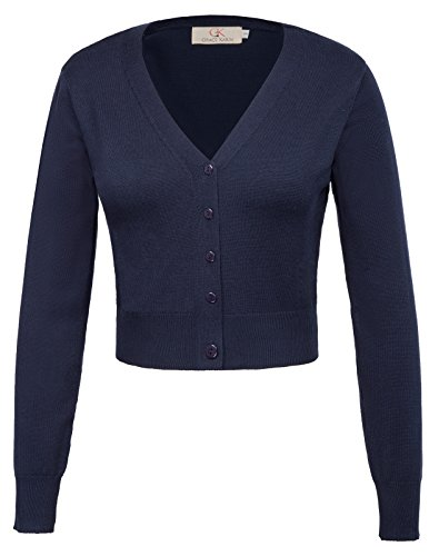 Basic Woven Bolero Shrug Jacket Cardigan Navy Blue Size L CL2000-3