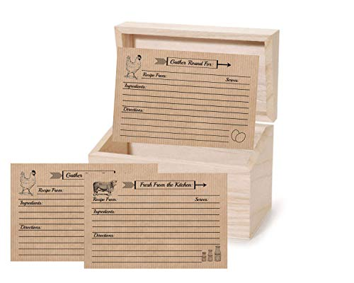Recipe Cards Farmhouse Recipe Box with 4x6 Double Sided 30 Count Chicken Cow Rustic Vintage Design (Recipe Box with Cards) (Recipe Box Chicken)