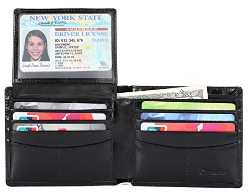 Mens Genuine Leather Bifold Wallet with 2 ID Window and RFID Blocking - Bright Black