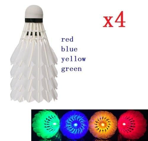 EatingBiting?R? 4PCS RED BLUE YELLOW GREEN LED Glow in Dark Badminton Shuttlecock Dark Night Glow Birdies Lighting For Outdoor & Indoor Sports Activities
