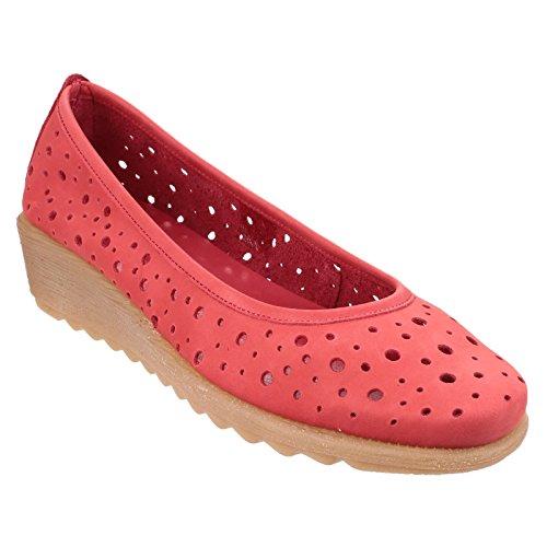 à Run Femme Rouge cuir Preferred compensé Ballerines talon The Flexx en HPxAAn