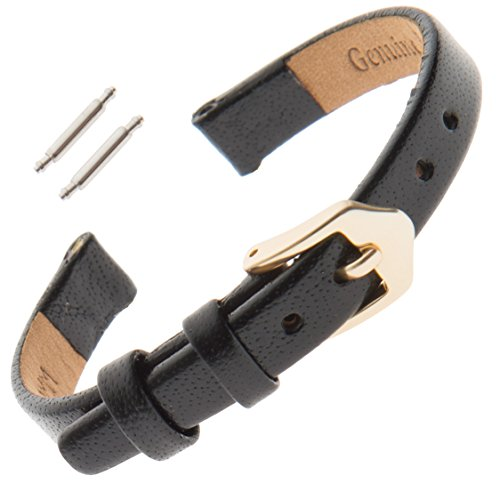 Gilden 6-12mm Narrow Flat Polished Calfskin Leather Ladies Watch Band F66-0110 (10 Millimeter end Width, Black, Gold-Tone Buckle) (7mm Watch Band)
