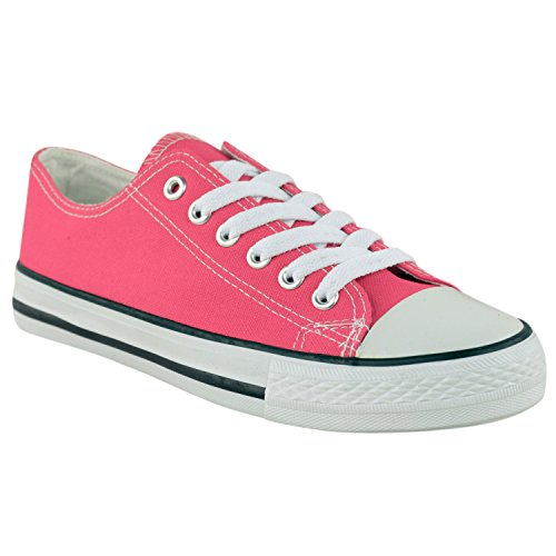 Canvas Pink Womens Up Size Thirsty Gym Baby Flat Fashion Lace Plimsoll Sneakers Trainers Shoes xUq1ECw1na