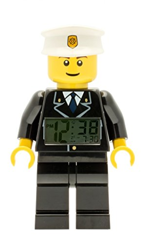 LEGO City 9002274 Policeman Kids Minifigure Light Up Alarm Clock | black/white | plastic | 9.5 inches tall | LCD display | boy girl | official by LEGO