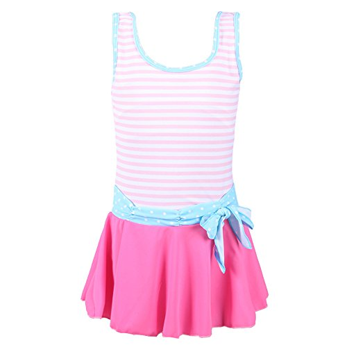 QRH Big Girls Poptical Stripes 1 Piece Swimsuit Pink Size 10-12 For Age 10-11 Years by QRH