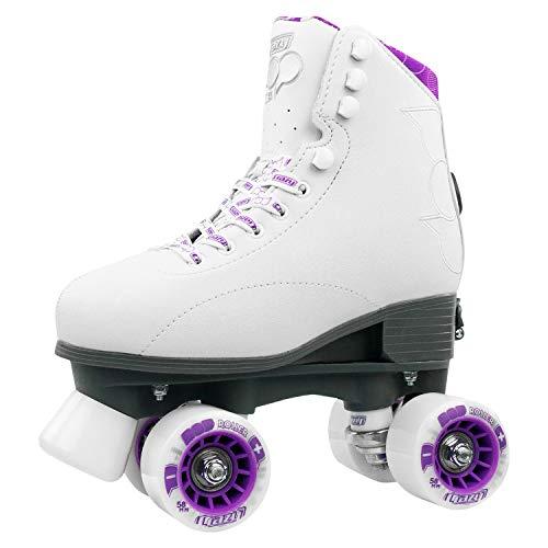 Crazy Skates POP Adjustable Roller Skates for Girls and Boys | Size Adjustable Quad Skates That Fit 4 Shoe Sizes | White (Sizes jr12-2)