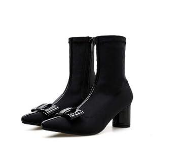 Tobillo Bota Arco Nudo Punta Puntera Estiramiento Botines Mujer 6Cm Grueso Talón Colormatch Zapatos De Vestir OL Corte Zapatos UE Tamaño 34-39: Amazon.es: ...