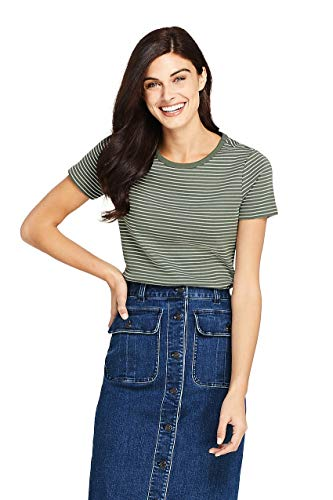 (Lands' End Women's Stripe Shaped Short Sleeve T-Shirt Cotton Crewneck)