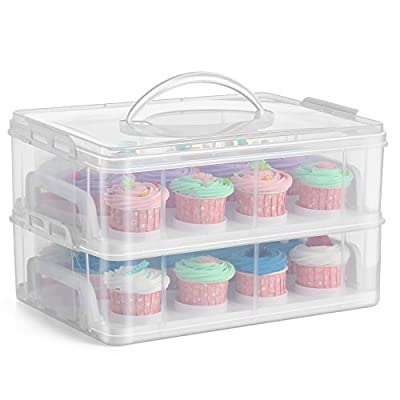 Flexzion Cupcake Carrier Holder Container Box - 24 Cupcakes Slot or 2 Large Cakes Pastry Clear Plastic Storage Basket Taker Courier with 2 Tier Stackable Layer Insert (Clear)