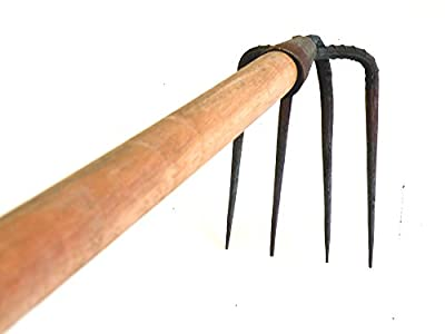 Fork Hoe-Ergonomic Professional Tough Fixed 4-Tine Long-Handle Cultivator - Simple Assembly Required ! Steel Forged Hoe and 47.25-inch Overall in Length
