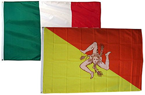 - ALBATROS 2 ft x 3 ft 2x3 Italy Italian with Sicily 2 Flags Flag for Home and Parades, Official Party, All Weather Indoors Outdoors