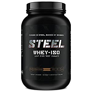 Steel Supplements Whey-ISO Whey Protein Isolate Powder Supplement Supports Lean Muscle Gains 2 Pounds Chocolate
