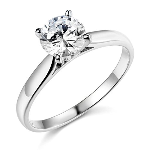 .925 Sterling Silver Rhodium Plated Wedding Engagement Ring