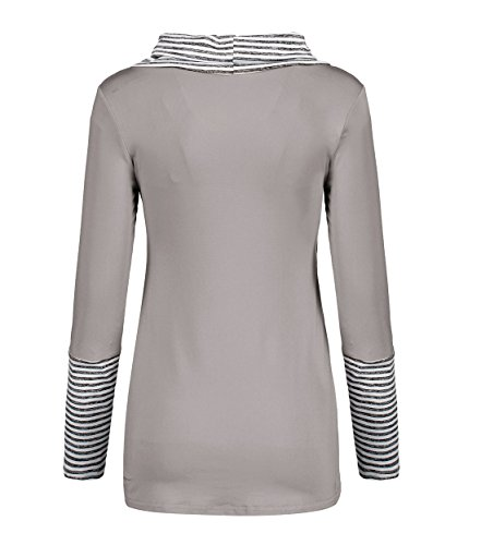 Haut T Femme Gris Fashion Raye Tunique Manches pissure Longues Blouse Col Chemisiers Long Casual Shirts Rond Tops Svelte Irregulier qB6q0