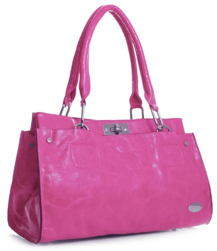 Big Handbag Shop lo donna spalla borsa in ecopelle Rosa (Rosa)
