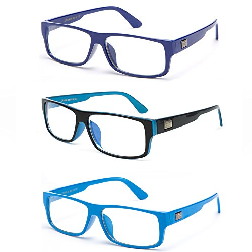 Newbee Fashion - Kayden Retro Unisex Plastic Fashion Clear Lens Glasses Blue 3 Pack