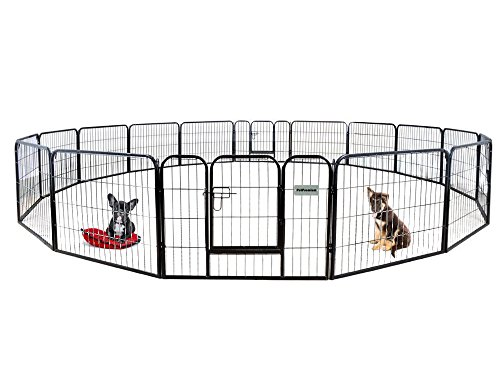 Large Enclosure (PetPremium Dog Pen Metal Fence Gate Portable Outdoor RV Play Yard | Heavy Duty Outside Pet Large Playpen Exercise | Indoor Puppy Kennel Cage Crate Enclosures | 24