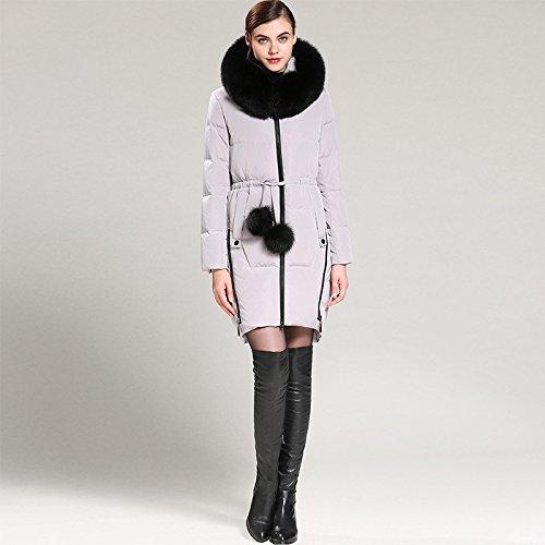 Pocket Down Coat Hat Long Grey Warm DYF length sleeve Medium XXL Jacket Zipper HwUXqX