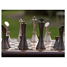 "Yves Tanguy Contemporary Luxury Chess Pieces Heavy Metal with Pewter and Copper Finish ""New Design"""