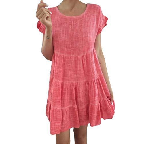 ZSBAYU Women's Summer Boho Short Sleeve Ruffle Pleated