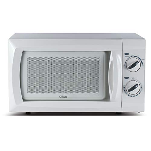 Commercial Chef Counter Top Rotary Microwave Oven 0.6 Cubic Feet, 600 Watt, White, CHM660W